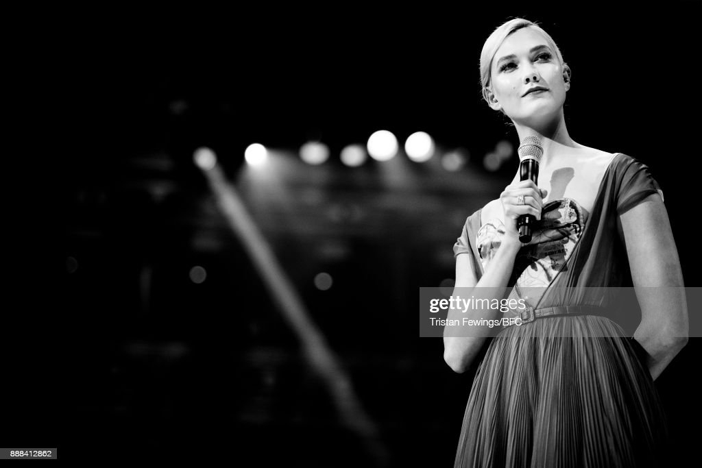 Karlie Kloss on stage during The Fashion Awards 2017 in partnership with Swarovski at Royal Albert Hall on December 4, 2017 in London, England.