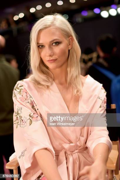 Karlie Kloss poses in Hair Makeupduring 2017 Victoria's Secret Fashion Show In Shanghai at MercedesBenz Arena on November 20 2017 in Shanghai China