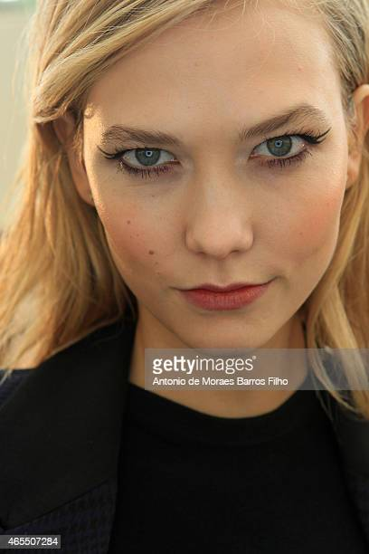 Karlie Kloss poses prior the Mugler show as part of the Paris Fashion Week Womenswear Fall/Winter 2015/2016 on March 7 2015 in Paris France