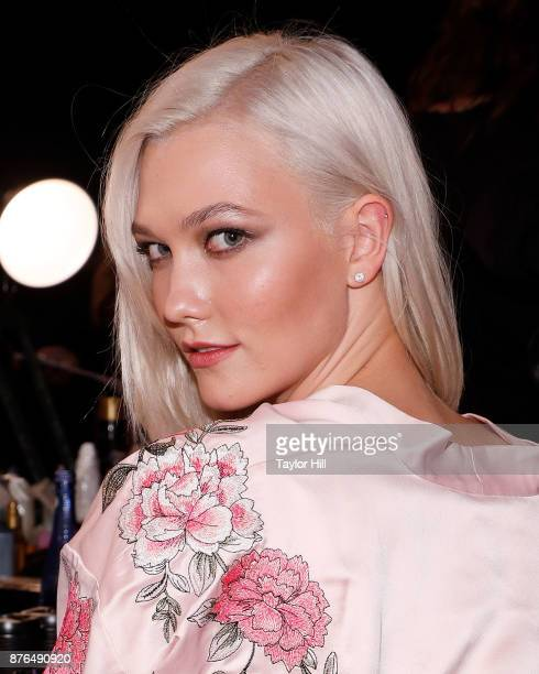 Karlie Kloss prepares for the 2017 Victoria's Secret Fashion Show in hair and makeup on November 20 2017 at MercedesBenz Arena in Shanghai China