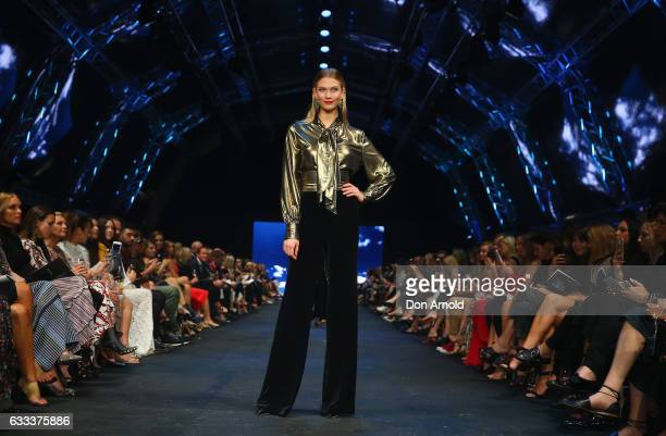 Karlie Kloss showcases designs by Carla Zampatti on the runway at the David Jones Autumn Winter 2017 Collections Launch at St Mary's Cathedral...
