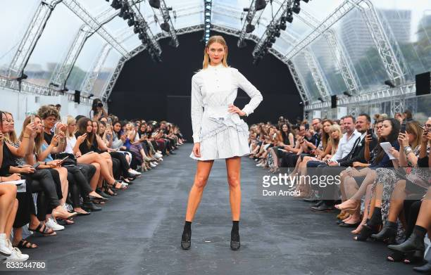 Karlie Kloss showcases designs by Macgraw during rehearsal ahead of the David Jones Autumn Winter 2017 Collections Launch at St Mary's Cathedral...