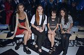 Karlie Kloss Sophie Turner a guest and Natasha Liu Bordizzo attend the Louis Vuitton show as part of the Paris Fashion Week Womenswear Fall/Winter...