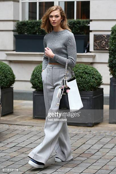 Karlie Kloss spotted during London Fashion Week with Kurt Geiger bag and trainers at Rosewood Hotel on February 21 2016 in London England