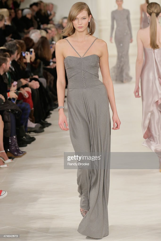 Karlie Kloss walks the runway at Ralph Lauren during Mercedes-Benz Fashion Week Fall 2014 at St. John's Center Studios on February 13, 2014 in New York City.