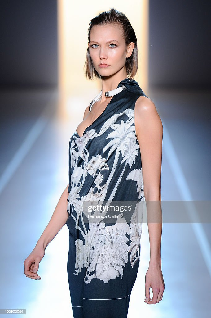 Karlie Kloss walks the runway during the Animale show during Sao Paulo Fashion Week Summer 2013/2014 on March 18, 2013 in Sao Paulo, Brazil.