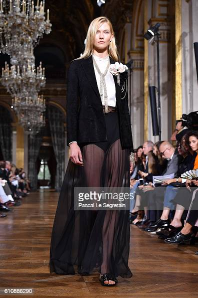 Karlie Kloss walks the runway during the Lanvin show as part of the Paris Fashion Week Womenswear Spring/Summer 2017 on September 28 2016 in Paris...