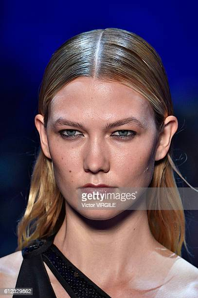 Karlie Kloss walks the runway during the Mugler Ready to Wear designed by David Koma fashion show as part of the Paris Fashion Week Womenswear...