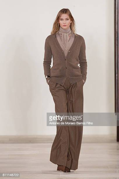 Karlie Kloss walks the runway during the Ralph Lauren show as a part of Fall 2016 New York Fashion Week at Skylight Clarkson Sq on February 18 2016...
