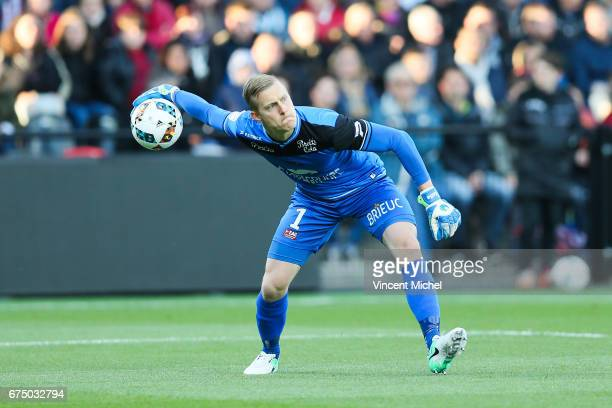 KarlJohan Jonhsson of Guingamp during the French Ligue 1 match between Guingamp and Saint Etienne at Stade du Roudourou on April 29 2017 in Guingamp...