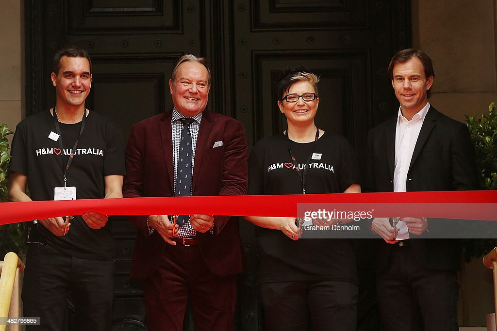 Karl-Johan Persson, Australia Country Manager Hans Andersson and Store Manager Tania Heywood cut the ribbon at the opening of the first H&M Australia store at the GPO on April 5, 2014 in Melbourne, Australia.