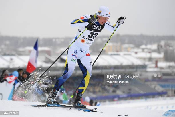 KarlJohan Westberg of Sweden competes in the Men's 16KM Cross Country Sprint qualification round during the FIS Nordic World Ski Championships on...