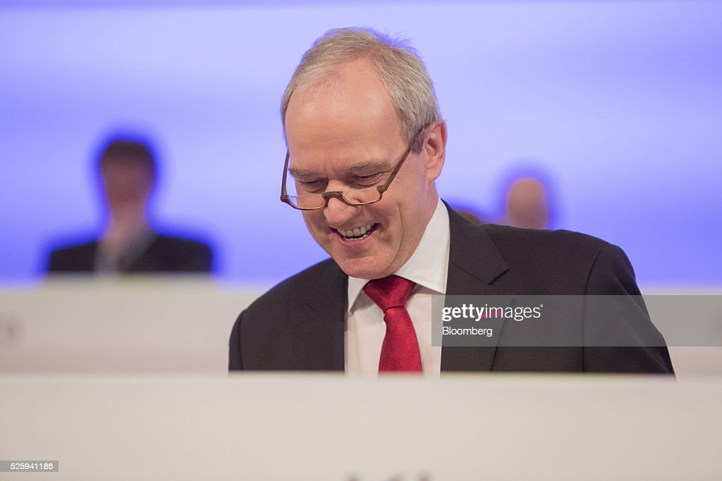 Karl-Ludwig Kley, chief executive officer of Merck KGaA, reacts during the pharmaceutical company's annual general meeting in Frankfurt, Germany, on Friday, April 29, 2016. Kley will replace Werner Wenning as chairman of the supervisory board of EON SE after the company's annual general meeting on June 8, EON said. Photographer: Martin Leissl/Bloomberg via Getty Images