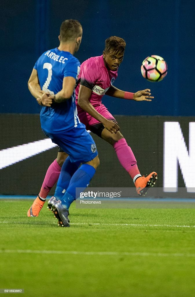 02 Karlo Bartolec 31 Leon Bailey forward of Krc Genk during UEFA Europa League play off round 1st Leg match between Lokomotiva Zagreb and KRC Genk on...