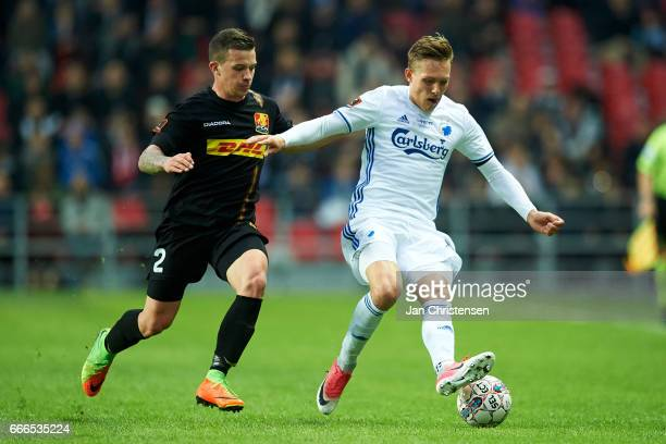 Karlo Bartolec of FC Nordsjalland and Ludwig Augustinsson of FC Copenhagen compete for the ball during the Danish Alka Superliga match between FC...