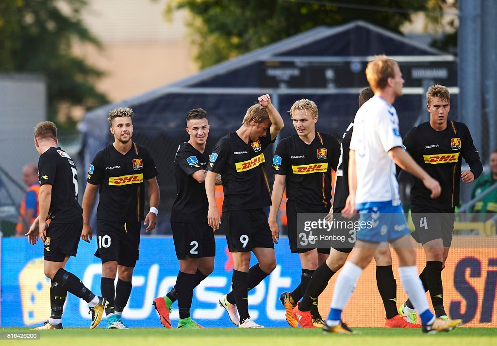 Karlo Bartolec of FC Nordsjalland celebrates after scoring their second goal during the Danish Alka Superliga match between OB Odense and FC Nordsjalland at EWII Park on July 17, 2017 in Odense, Denmark.