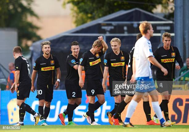 Karlo Bartolec of FC Nordsjalland celebrates after scoring their second goal during the Danish Alka Superliga match between OB Odense and FC...