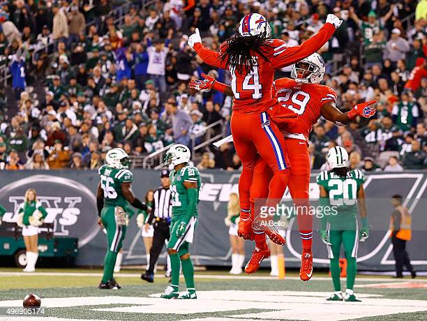 Karlos Williams of the Buffalo Bills is congratulated by his teammate Sammy Watkins after scoring a third quarter touchdown against the New York Jets...
