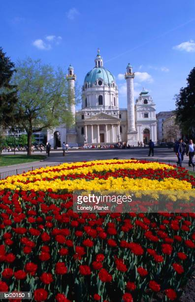 Karlskirche (church) with flower bed in foreground, Wieden, Vienna, Austria