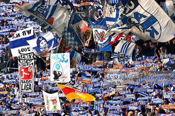 Karlsruhe fans are seen during the Bundesliga match between Karlsruher SC and VfB Stuttgart at the Wildpark stadium on March 1 2009 in Karlsruhe...