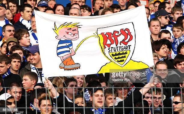 Karlsruhe fans present an antiStuttgart banner during the Bundesliga match between Karlsruher SC and VfB Stuttgart at the Wildpark stadium on March 1...