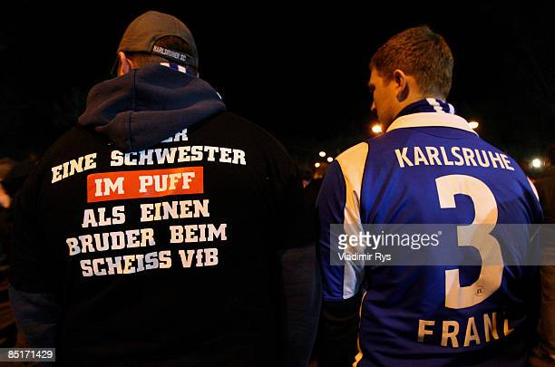 Karlsruhe SC supporters are seen after the Bundesliga match between Karlsruhe SC and VfB Stuttgart at the Wildpark stadium on February 27 2009 in...