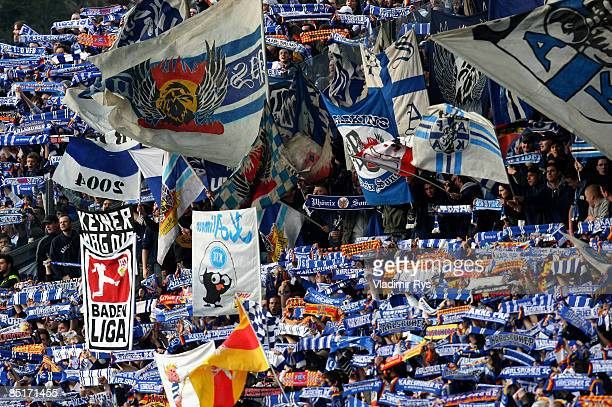 Karlsruhe SC supporters are seen during the Bundesliga match between Karlsruhe SC and VfB Stuttgart at the Wildpark stadium on February 27 2009 in...