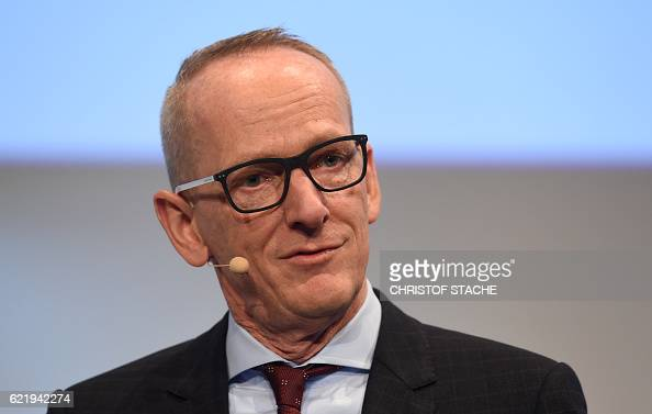 KarlThomas Neumann CEO of German car maker Adam Opel AG speaks during the socalled AutoGipfel automotive meeting in Munich southern Germany on...