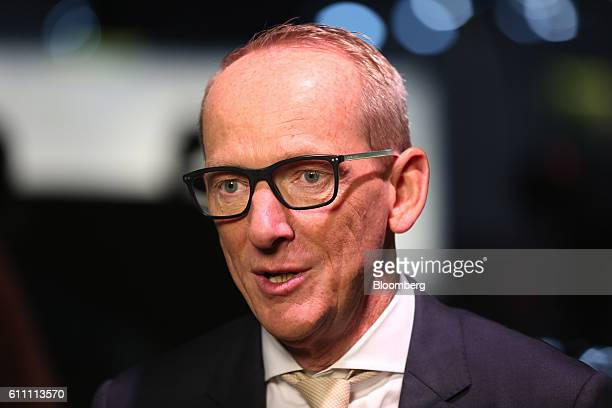 KarlThomas Neumann chief executive officer of Adam Opel AG speaks during an interview on the first press day of the Paris Motor Show at Porte de...