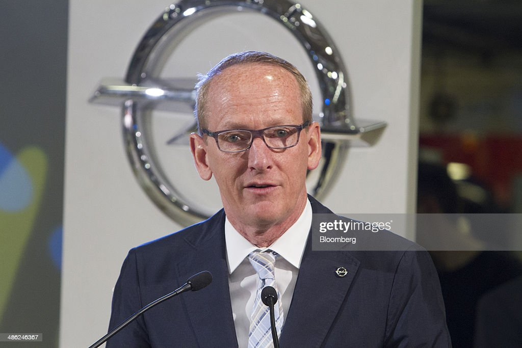 Karl-Thomas Neumann, chief executive officer of Adam Opel AG, speaks before the company's three millionth automobile rolls off the production line at the Opel factory, operated by General Motors Co.(GM) in Eisenach, Germany, on Wednesday, April 23, 2014. European sales at Opel and its U.K. sister brand Vauxhall gained 8.5 percent to 226,888 cars in the first quarter, slightly better than the 8.1 percent increase for the market overall, according to ACEA data. Photographer: Martin Leissl/Bloomberg via Getty Images