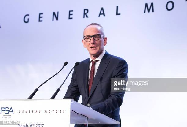 KarlThomas Neumann chief executive officer of Adam Opel AG speaks during the news conference to announce the GM deal in Paris France on Monday March...