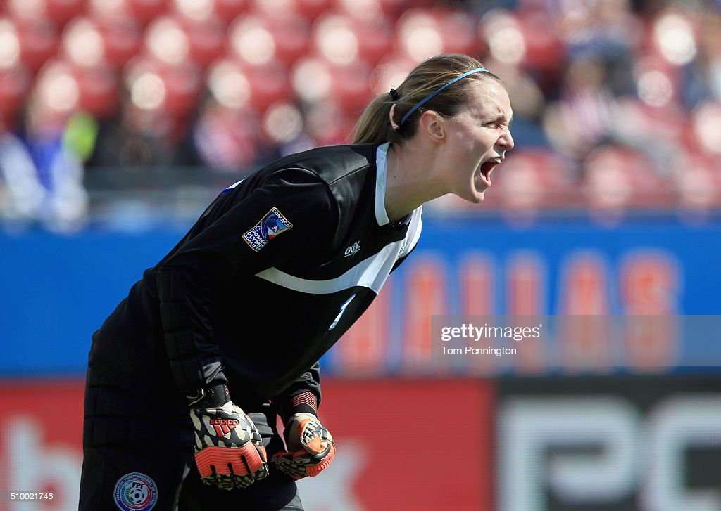 Karly Gustafson #1 of Puerto Rico reacts against Costa Rica during the Group A - 2016 CONCACAF Women's Olympic Qualifying at Toyota Stadium on February 13, 2016 in Frisco, Texas.