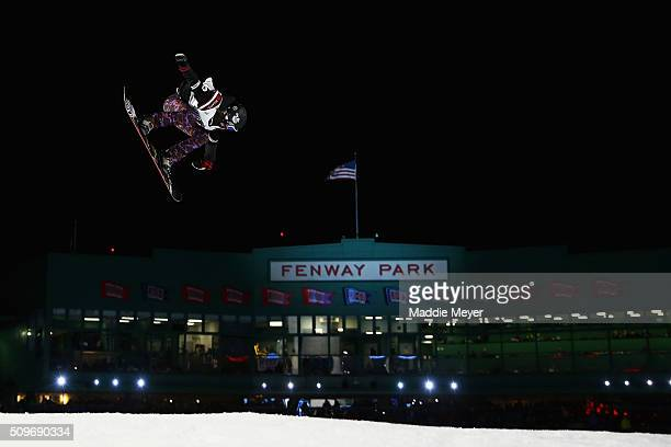 Karly Shorr practices for the Ladies Snowboarding final round during Polartec Big Air Day 1 at Fenway Park on February 11 2016 in Boston Massachusetts