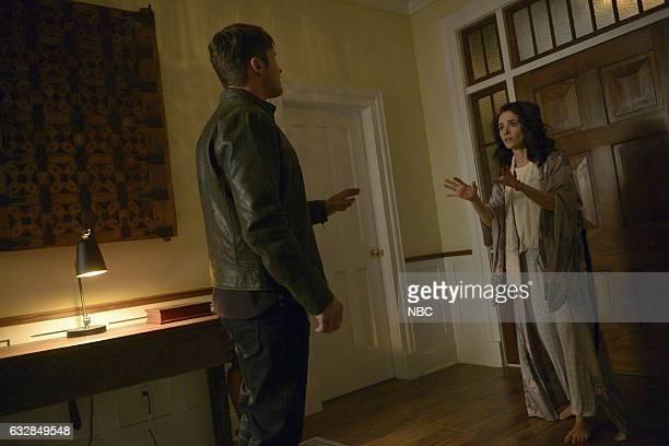 TIMELESS 'Karma Chameleon' Episode 112 Pictured Matt Lanter as Wyatt Logan Abigail Spencer as Lucy Preston