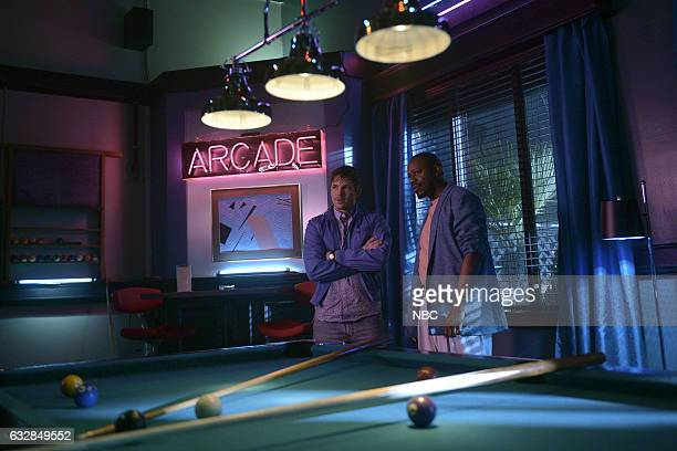 TIMELESS 'Karma Chameleon' Episode 112 Pictured Matt Lanter as Wyatt Logan Malcolm Barrett as Rufus Carlin