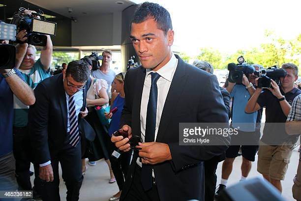 Karmichael Hunt arrives at Southport Magistrates Court on March 5 2015 in Gold Coast Australia Gold Coast Titans NRL players and current Queensland...