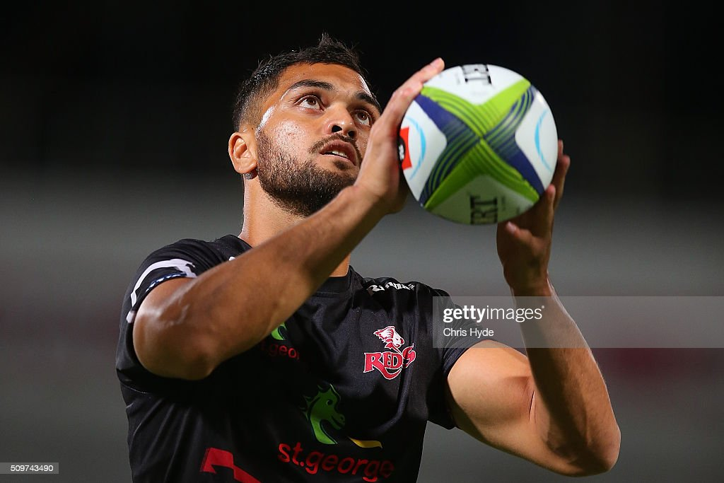 <a gi-track='captionPersonalityLinkClicked' href=/galleries/search?phrase=Karmichael+Hunt&family=editorial&specificpeople=162731 ng-click='$event.stopPropagation()'>Karmichael Hunt</a> of the Reds warms up ahead of the Super Rugby Pre-Season match between the Reds and the Brumbies at Ballymore Stadium on February 12, 2016 in Brisbane, Australia.