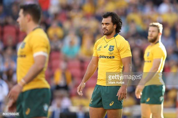 Karmichael Hunt of the Wallabies watches on in defence during the International Test match between the Australian Wallabies and Italy at Suncorp...