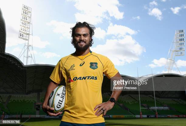 Karmichael Hunt poses for photos after the Australian Wallabies Captain's Run at AAMI Park on June 9 2017 in Melbourne Australia