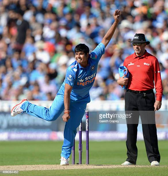 Karn Sharma of India bowls during the NatWest International T20 between England and India at Edgbaston on September 7 2014 in Birmingham England