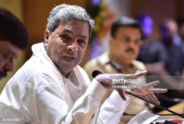 Karnataka Chief Minister Siddaramaiah during a press meet after the review meeting with senior police officers at Police headquarters on July 10 2017...