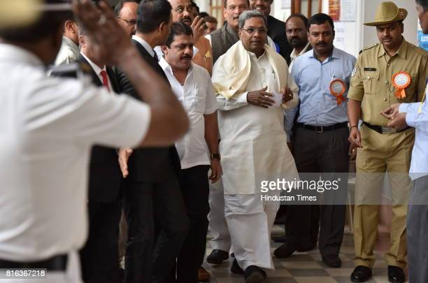 Karnataka Chief Minister Siddaramaiah going to cast his vote for the Presidential election at Vidhan Sabha on July 17 2017 in Bengaluru India Approx...