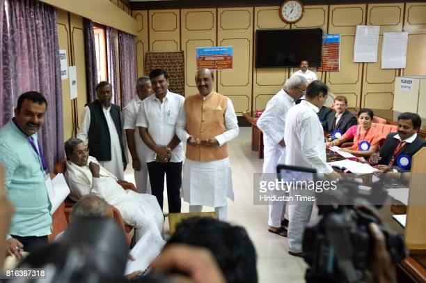 Karnataka Chief Minister Siddaramaiah waiting inside the polling booth after casting his vote for the Presidential election at Vidhan Sabha on July...