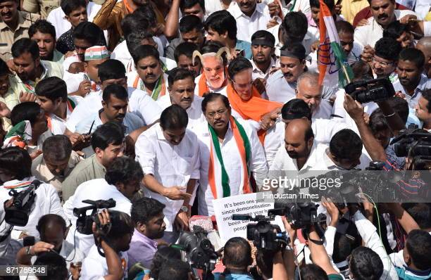 Karnataka Pradesh Congress Committee staged a demonstration on the first anniversary of demonitization from Maurya circle to Freedom Park on November...