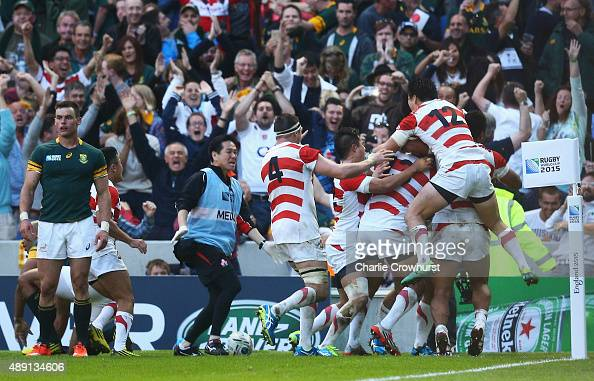 Karne Hesketh of Japan celebrates scoring he winning try during the 2015 Rugby World Cup Pool B match between South Africa and Japan at the Brighton...