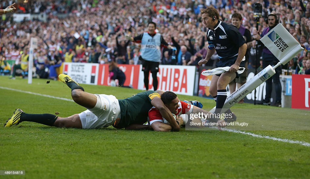 Karne Hesketh of Japan scores the winning try during the 2015 Rugby World Cup Pool B match between South Africa and Japan at Brighton Community Stadium on September 19, 2015 in Brighton, United Kingdom.