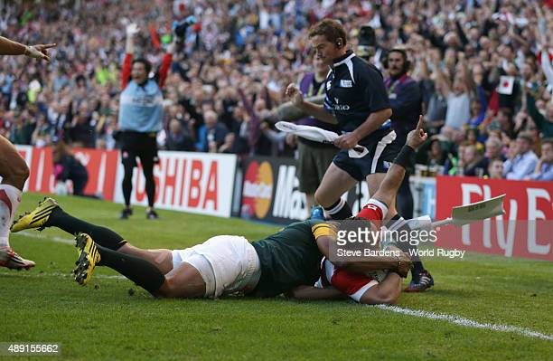 Karne Hesketh of Japan scores the winning try during the 2015 Rugby World Cup Pool B match between South Africa and Japan at Brighton Community...