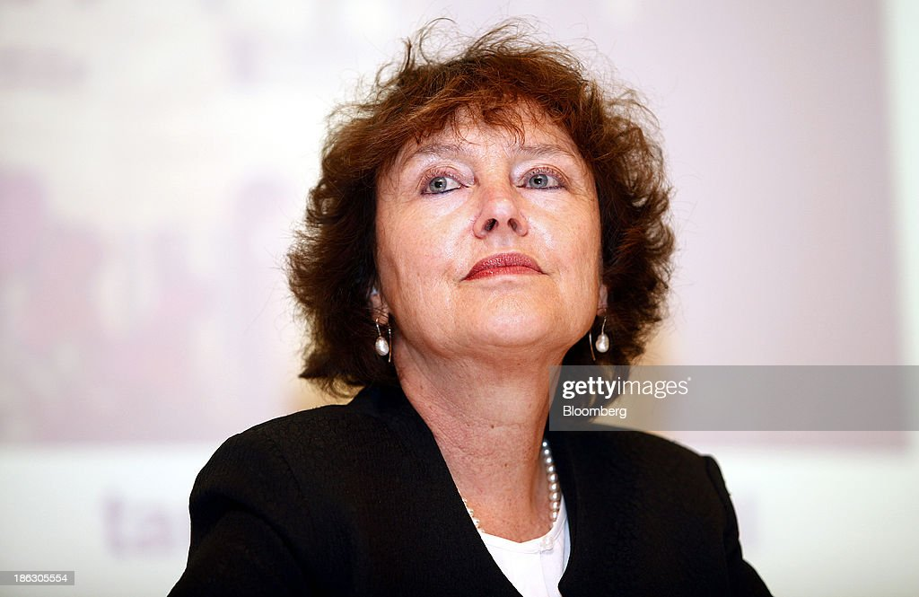 Karnit Flug, governor of the Bank of Israel, pauses during a roundtable on social economic policy at the 'Causes and Consequences of Inequality' conference organised by the Taub Center in Jerusalem, Israel, on Wednesday, Oct. 30, 2013. Flug and Prime Minister Benjamin Netanyahu said it is essential to integrate more Israeli Arabs and ultra-Orthodox men into the labor force to sustain economic growth and improve standards of living. Photographer: Ariel Jerozolimski/Bloomberg via Getty Images
