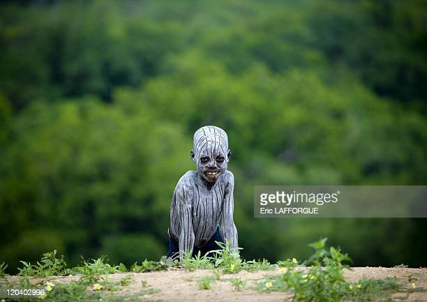 Karo tribe kid in Korcho Ethiopia on October 28 2008 The Karo with a population of about 1000 1500 live on the east banks of the Omo River in south...