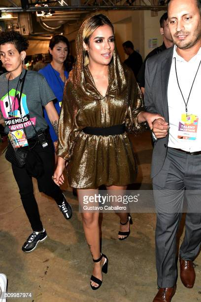 Karol G is seen backstage during Univision's 'Premios Juventud' 2017 Celebrates The Hottest Musical Artists And Young Latinos ChangeMakers at Watsco...